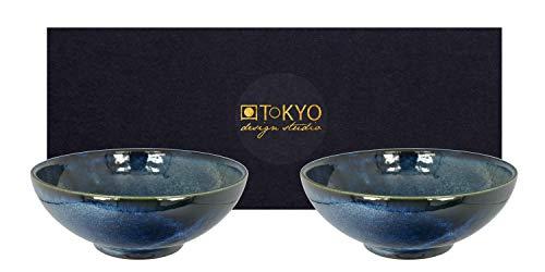 TOKYO design studio, Cobalt Blue, 2 Schalen Set, 2-TLG, Ø 21 cm, Porzellan aus Japan