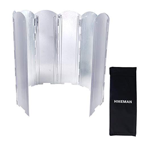 HIKEMAN Camping Cooker Windschutz - Outdoor 8 Platten Klappofen Windschutzscheibe mit Aufbewahrungstasche für Picknick Wandern BBQ (L(120 * 50cm))