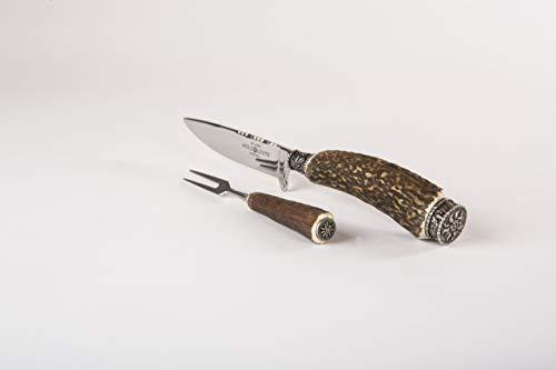Trachtenmesser, Jagdnicker, Hirschfänger für die Lederhose aus Hirschhorn mit Gabel