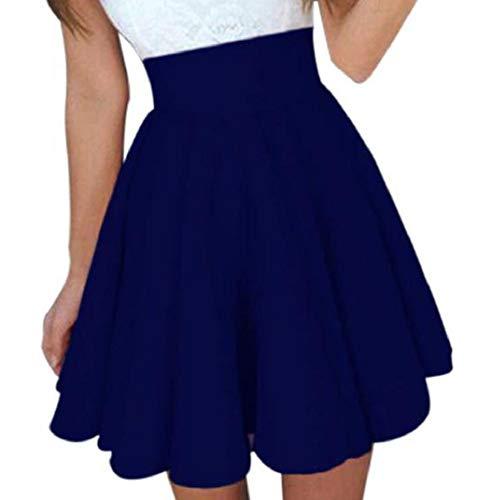 MISYAA Skrits Womens Summer Solid Skater Skirt High Waist Mini Skirts Cocktail Skirt Dresses Besties Gift(Blue,Large)