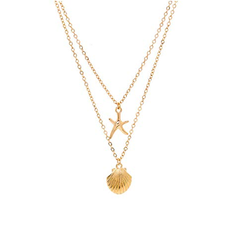 Yalice Layered Starfish Necklace Chain Boho Shell Necklaces Beach Jewelry for Women and Girls (Gold)