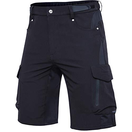 Cycorld MTB Hose Herren Fahrradhose, Schnelltrocknende MTB Shorts Herren Mountainbike Hose Baggy Bike Shorts, Atmungsaktiv Radhose mit Verstellbaren Klettverschlüssen (Schwarz, 2XL)