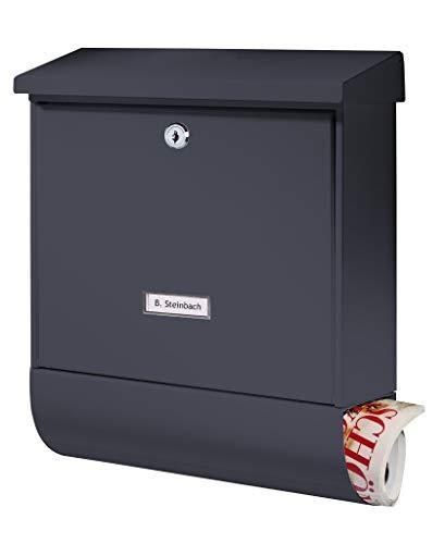 BURG-WÄCHTER Briefkasten mit Zeitungsbox und Namensschild, A4 Einwurf-Format, EU Norm EN 13724, Inkl. 2 Schlüsseln, Rostfreier, Seculine 2500 ANT, Anthrazit (RAL 7016)