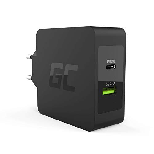 Green Cell 45 W USB-C PD laddare med USB-C kabel och extra USB-anslutning strömförsörjning för Apple MacBook 12, ASUS ZenBook 3/Flip S, HP Spectre 13/x360 13/Envy x2 och andra