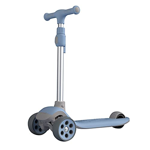 PTHZ Scooter, Scooter para niños portátiles Plegables, con manillares Ajustables en Altura y Ruedas de PU Intermitentes, adecuadas para niños y niñas de 2 a 12 años,Azul