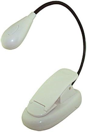 Eye Care White Clip-On LED Book Lightweight Light for Reading Bed Travel