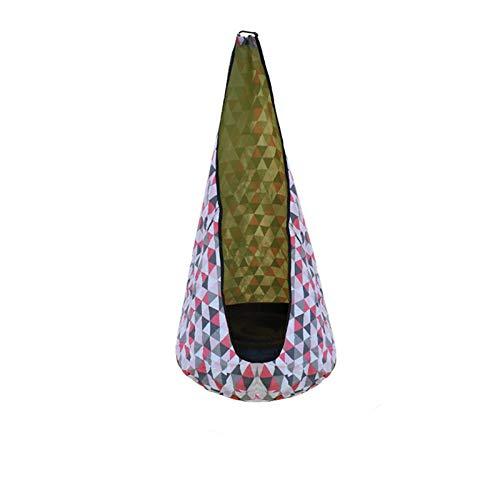 auspilybiber Columpio Pod niños techo hamaca silla patio cremallera asiento colgante con bolsillo lateral para el hogar ahorro de espacio cómodo