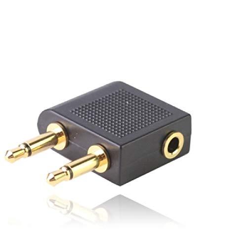 ILS - adapter voor hoofdtelefoonaansluiting voor vliegtuig 3,5 mm (zwart)