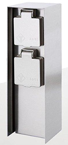 eckige Steckdosensäule für Außen mit 2 oder 3 oder 4 Steckdosen IP44 Garten Stromversorgung (Silber 2fach)