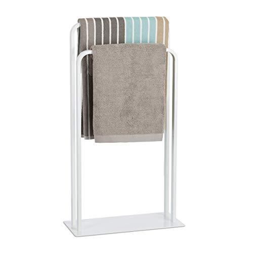 Relaxdays, weiß Handtuchständer mit 2 Stangen, Handtuchhalter freistehend in U-Form, Badetuchhalter, HBT 81 x 45 x 20 cm, Standard