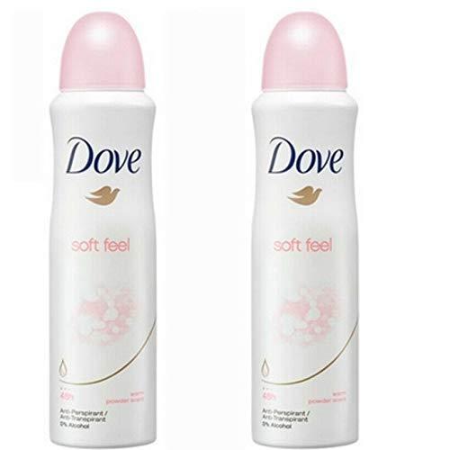 2 Pack Dove Soft Feel Antiperspirant Deodorant Spray, 150ml Each