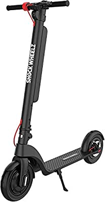 Shock Wheelz ™ PRO-MAX ELECTRIC SCOOTER - E SCOOTER 3 SPEED MODES - TOP SPEED 15.5 MPH (25KM/H) Electric 10.5 Inch Wheel Foldable Scooter with LCD Screen High Range Detachable Battery 350W / 36V