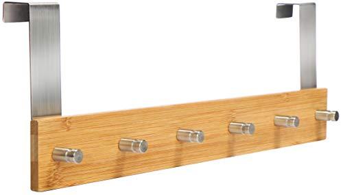 com-four® Türgarderobe aus Bambus mit 6 Haken - Wandgarderobe zum Einhängen an der Tür (01 Stück - Bambus)