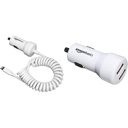 Amazon Basics - Kfz-Ladegerät mit Lightning-Anschluss, Spiral-Kabel, 5V, 2,4A, 0,45 m, Weiß & Kfz-Ladegerät für Apple- & Android-Geräte, USB-Anschluss: 2 Eingänge, 4,8Ampere / 24W, Weiß