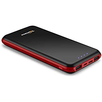 TopMate Power Bank Caricabatterie portatile 10000mAh Mini batteria esterna Design Ultra Sottile | rosso