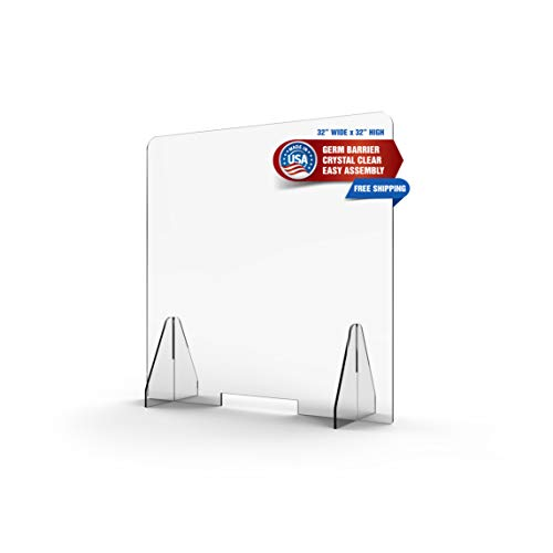 Protective Acrylic Clear Sneeze Guard for Desk, Counter, Receptionist, Cashier Checkout with Transaction Window | Barrier Protects Employees & Customers | Easy Assembly (32' x 32') 1/4' Thick Acrylic