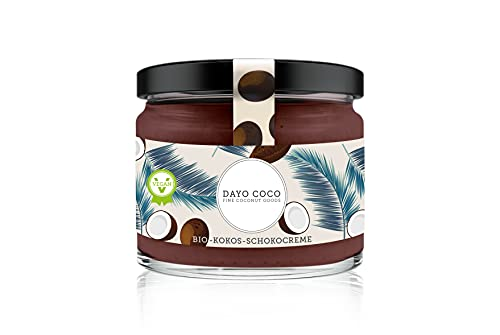 DAYO COCO Bio Kokos-Schokocreme 280 ml, Schokoladen Brotaufstrich, 100{68e14a5c1b297e7d56bc3ab98e29686f7240e8d93a26539a8406fedb7d17a4f3} Vegan & Bio, ohne Palmöl, mit Agave gesüßt, Nussfrei