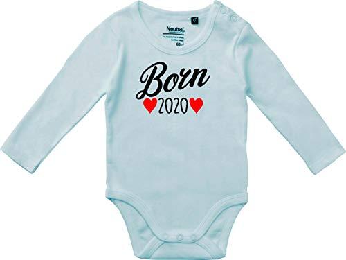 Kleckerliese Baby Body Vintage Sprüche Jungen Mädchen Langarm mit Motiv Born 2020, LightBlue,68