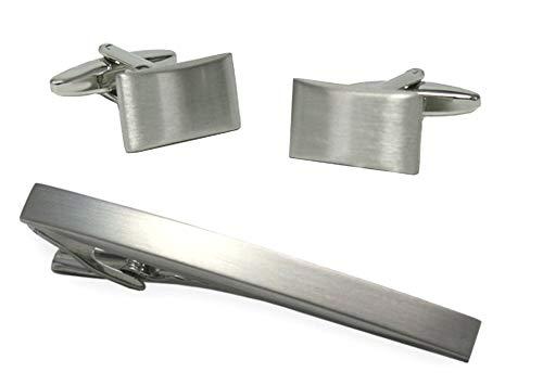 Unbekannt Set Manschettenknöpfe Krawattenklammer Krawattennadel schlicht elegant silbern Plus Geschenkbox