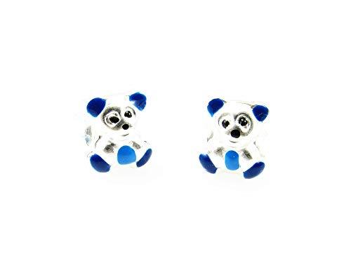 Minoplata Pendientes infantiles osos de Plata de ley con esmalte azul un diseño precioso ideal para regalar a niñas coquetas