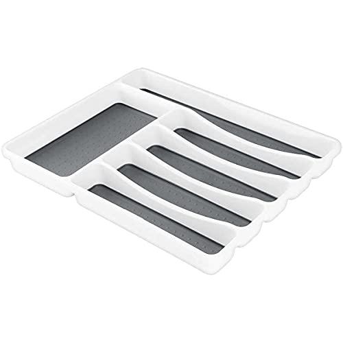 Almineez 6 Compartment Cutlery Tray Kitchen Drawer Organiser Utensils Spoon Fork Holder Plastic Storage Rack Kitchen Tableware Non Slip Multipurpose Divider Section