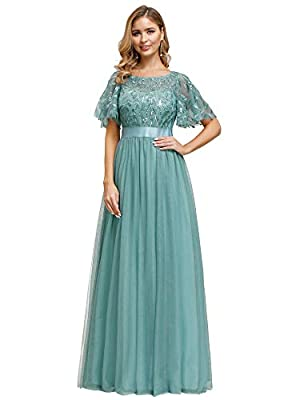 Ever-Pretty Women's A-Line Elegant Flare Sleeve Prom Gown Bridesmaid Dress Light Blue US12