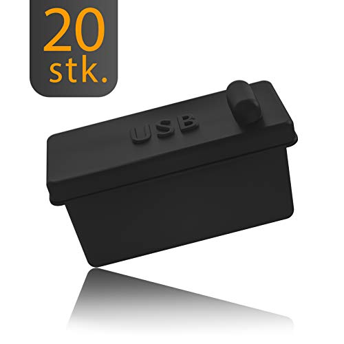 20x Staubschutz Stöpsel Typ USB-A für Desktop PCs, Laptop, MacBook, UVM. by innoGadgets | USB-A Staubstecker, Schutz für jeden USB-A Anschluss | Silikon Staubstöpsel | Schwarz