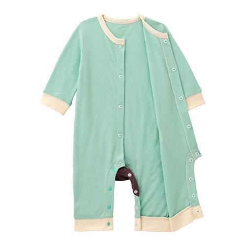 [ベルメゾン]カバーオール前開き男の子女の子長袖シンプル無地ベビーパジャマグリーン90