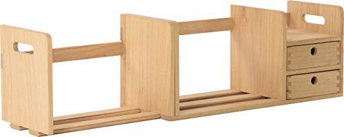 Organizer da scrivania in legno completamente assemblato – scaffale regolabile per libri da scrivania con cassetti – Stazione di archiviazione espandibile libreria / libreria