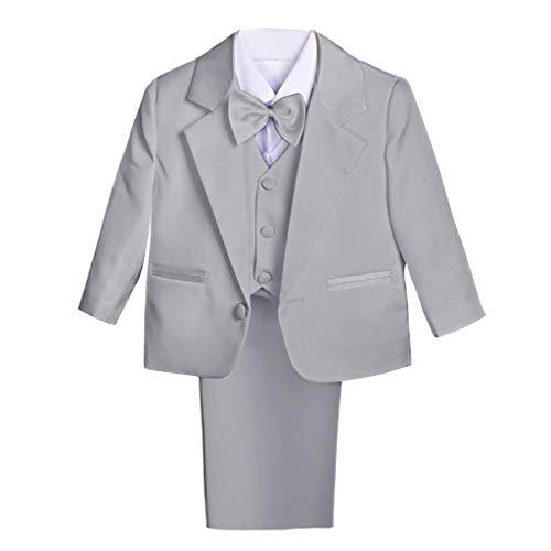 Dressy Daisy Baby Boy' 5 Pcs Set Formal Tuxedo Suits No Tail Wedding Outfits Size 2-3T Light Gray