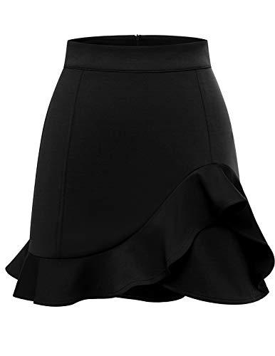 bridesmay Damen Basic Rock Schwarz Hochbund Minirock A-Linien Stretchrock Kurz Faltenrock Black XL