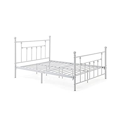 Hodedah Complete Metal Bed with Headboard, High Footboard, Slats and Rails, Queen Size, White