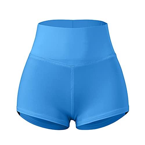 Pistaz Mallas cortas de ciclismo para mujer, de cintura alta, opacas, para verano, yoga, correr, pilates, azul, 38W regular