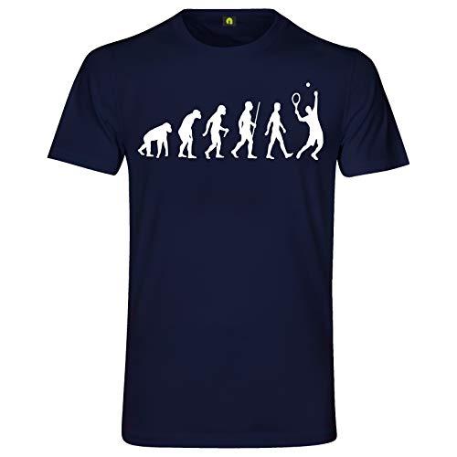 Evolution Tennis T-Shirt | Ball | Schläger | Ballspiel | Netz | Tunier Navy Blau XL