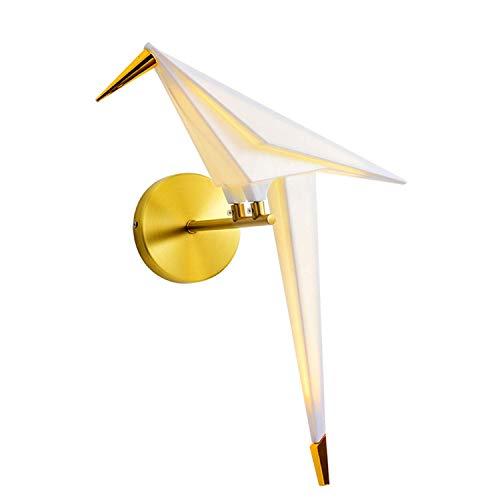 Aplique de pared Elegante diseño de pájaro creativo Lámpara de pared, LED moderno, Columpio de grúa de papel de origami, Pantalla de acrílico de metal, Lámparas de noche para dormitorio interior