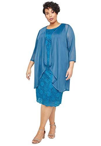 Catherines Women's Plus Size Sparkling Lace Jacket Dress - 26 W, Ink Blue (0550)