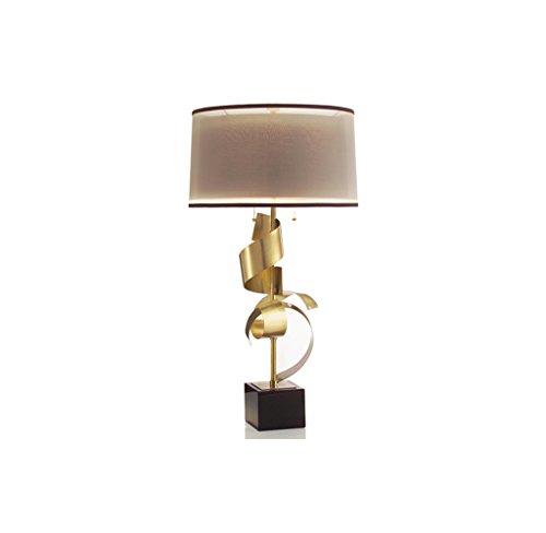 ZfgG American Copper Lámpara de Mesa con Pantalla Doble Base de mármol Moderna Lámpara de Mesa de Noche Modelo de Gama Alta Sala de Estar Dormitorio Porche Luz de Mesa Lectura Iluminación de Trabajo