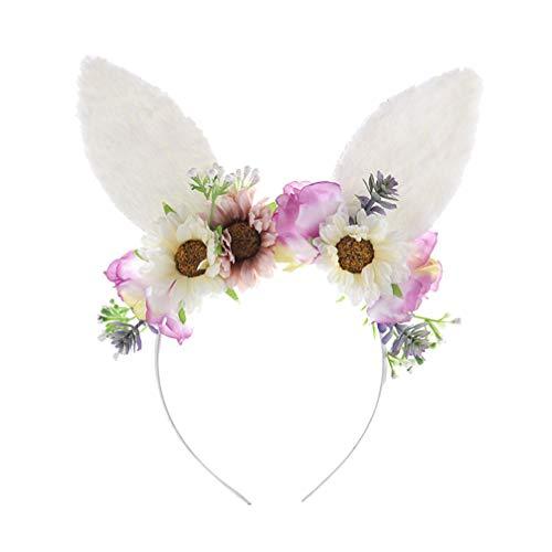 Happyyami Ostern Ohren Stirnband Blumen Plüsch Katze Ohren Haarband Haarband Ostern Haar Zubehör für Mädchen Frauen Ostern Party Foto Requisiten