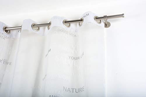 InCasa Barra para Cortina, 20 mm. de diámetro, 280 cm. de Longitud, en Acero cepilado – Completo, sin Anillas
