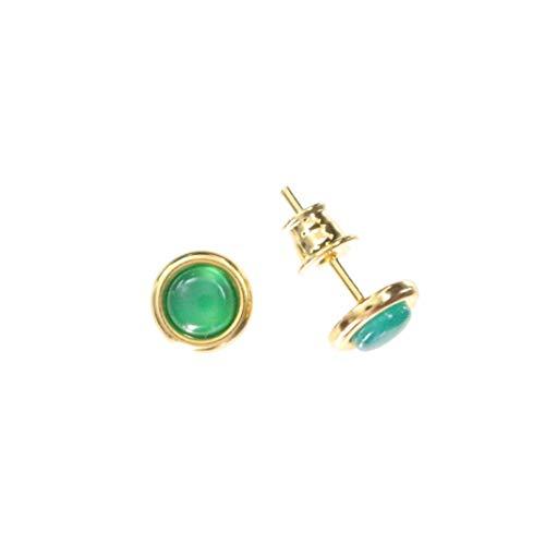 Pendientes redondos elegantes con ágata verde y plata de ley 925/000 chapada en oro, de Artisana.