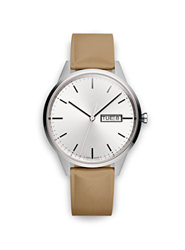 Uniform Wares Unisex Herren & Damen C40 Uhren in Brushed Steel with Tan Nitrile Rubber Strap