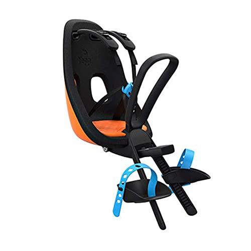 MOME Asiento de bicicleta para niños, asiento de seguridad infantil con cinturón de seguridad, cinturón de seguridad ajustable, cómodo, seguro y ajuste, naranja