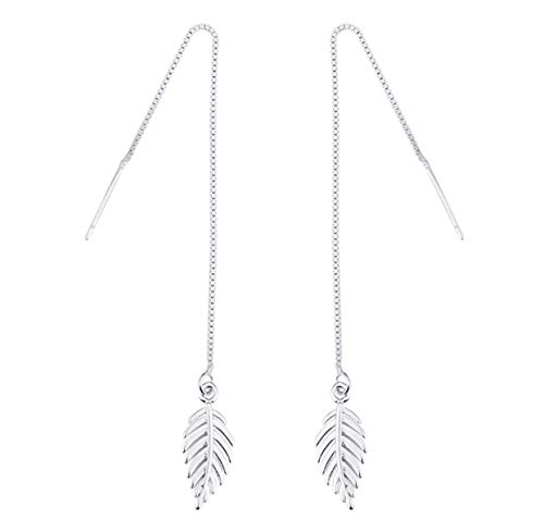 Boho Minimalist Long Thin Linear 925 Sterling Silver Leaves Dangle Earrings Chain for Women Elegant Threader Earrings