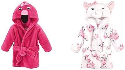 Hudson Baby Girl Plush Animal Face Bathrobe 2-Pack, Flamingo White Elephant