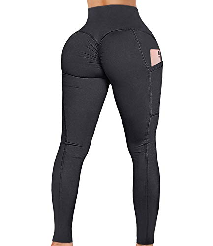 A AGROSTE Women's High Waist Yoga Pants with Pockets Tummy Control Scrunch Ruched Butt Lifting Workout Leggings Sport Fitness Gym Push Up Tights