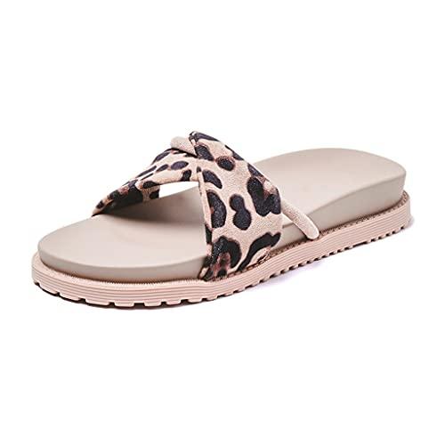 NJZYB Zapatos De Mujer 2021 Verano Retro Sexy Estampado De Leopardo Street Wear Sandalias Y Zapatillas (Color : A, Size : 40)