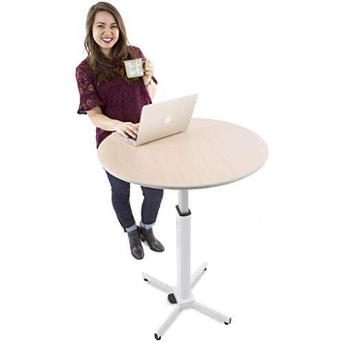 Adjustable Height Multifunctional Round Table - Perfect use for Cocktail Table, Sit to Stand Desk,...