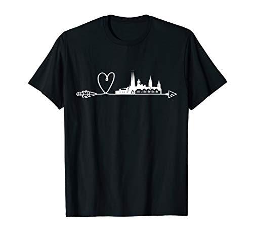 Chemnitz Skyline Herz Pfeil Stadt Panorama T-Shirt