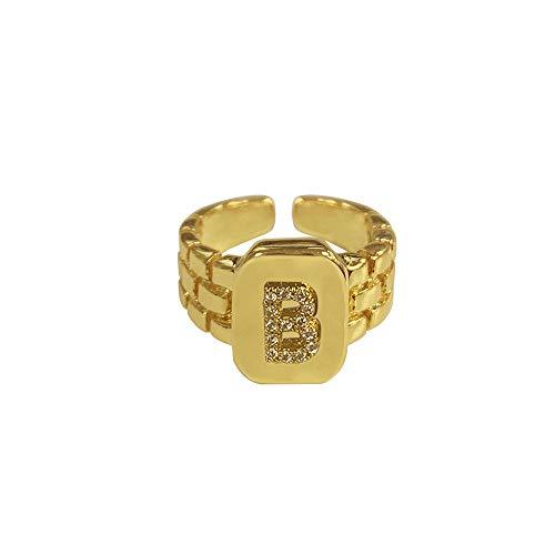 DGSDFGAH Anillo Mujer B Ring Hip Hop Reloj De Anillo con Letra AZ De Oro Ajustable con Correa Cuadrada Anillo Inicial De Mujer para Hombre