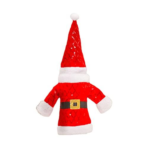 DONTHINKSO Cubierta de botella de vino de Navidad con lentejuelas, ropa de Papá Noel y sombrero para decoraciones de Navidad Año Nuevo Decoración de mesa de comedor - Rojo